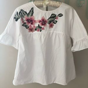 Embroidered Blouse with Flared Sleeves